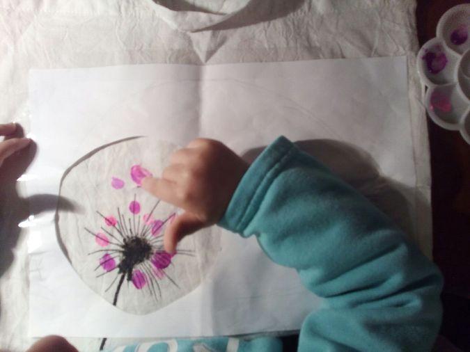 Arbol de huellas - pintar bolsa de tela