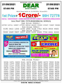 dear lottery result today 6 pm lottery result download in PDF