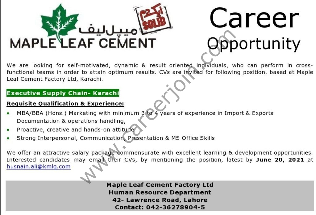 Maple Leaf Cement Jobs 2021 in Pakistan For Executive Supply Chain - Apply via husnain.ali@kmlg.com