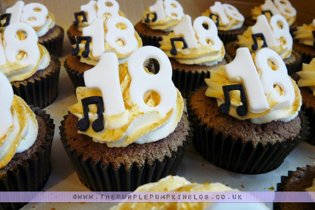 Gold 18th Birthday Cupcakes with Musical Notes