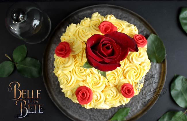 rose cake princesse belle disney