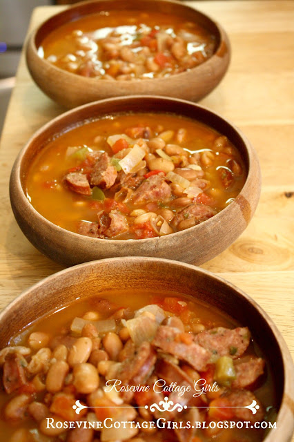 How to cook beans. | Three wooden bowls of beans on a wooden counter | rosevinecottagegirls.com