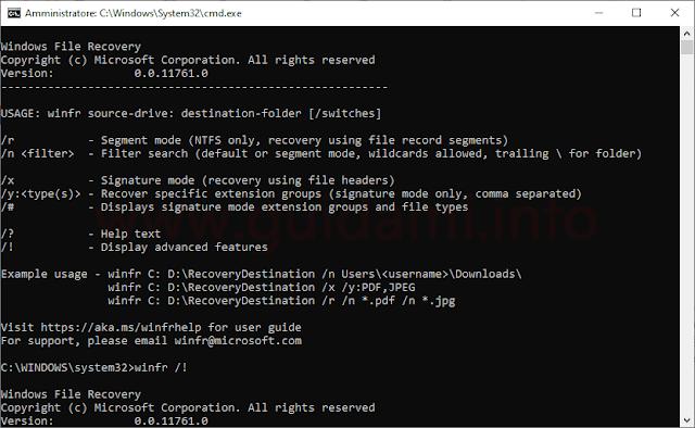 Windows File Recovery interfaccia DOS