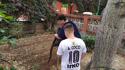 Nuestros chicos preparando los caballones.