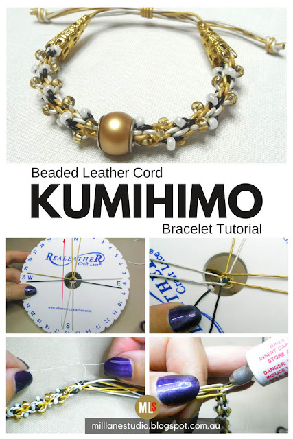 Beaded leather Kumihimo bracelet inspiration sheet
