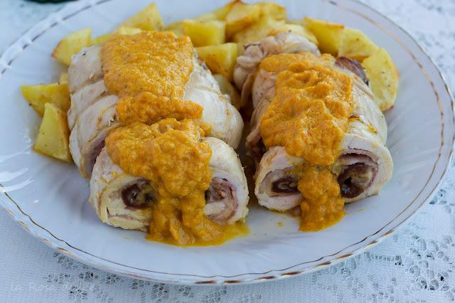 Pechugas de pollo rellenas en salsa de sidra