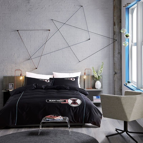 The black widow's bed set brings sophistication to the bedroom
