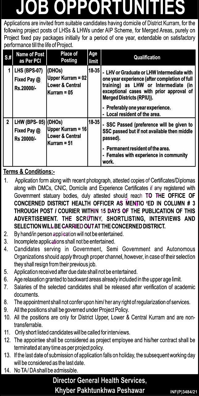 District Health Officer Office 2021- Health Department Kurram New Jobs