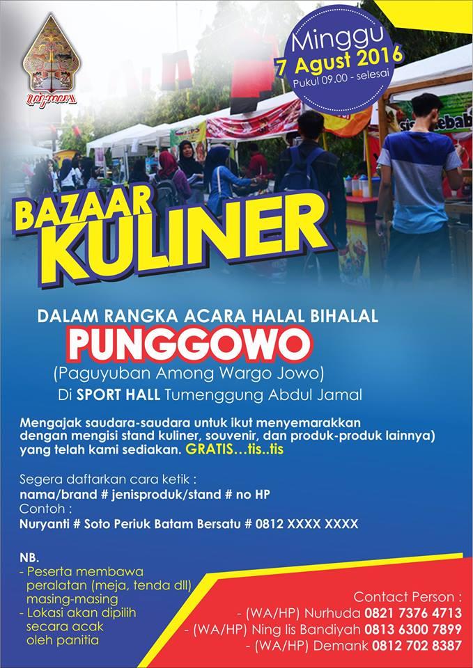 Event Bazaar Kuliner Gratis Di Halal Bihalal Punggowo Batam Event