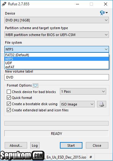 Pilih file systems untuk flashdisk