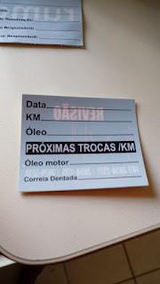 etiqueta para troca de óleo