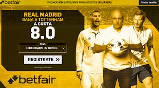 betfair supercuota 8 victoria de Real Madrid a Tottenham champions 1 noviembre