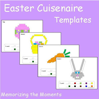 Easter themed math templates for using Cuisenaire Rods