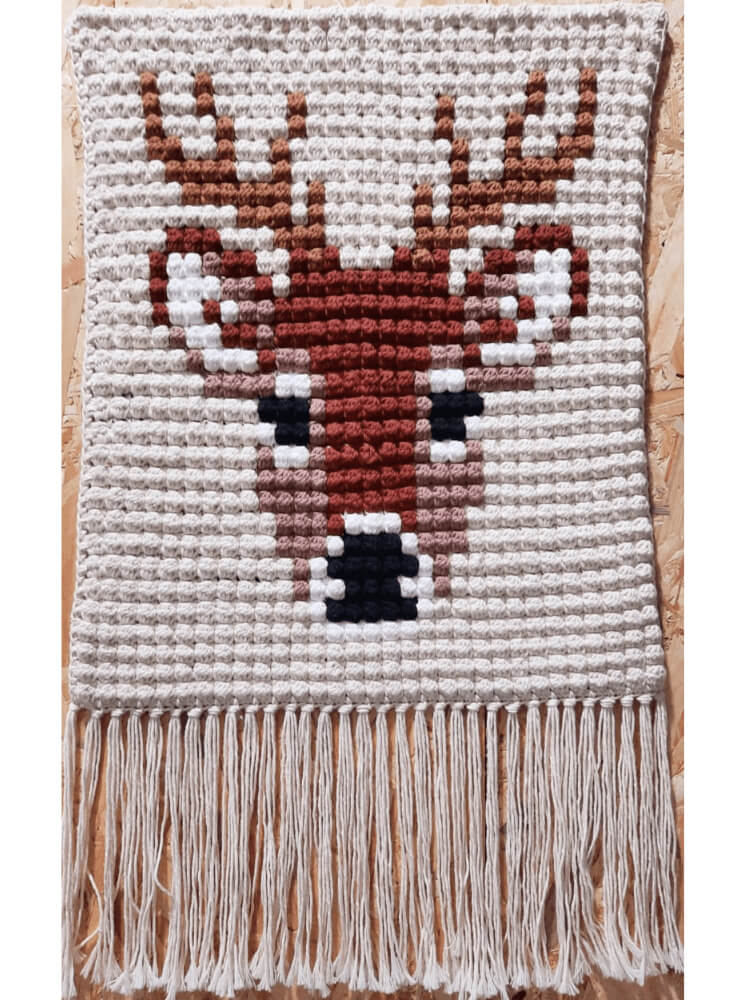 Crochet Bobble Stitch, Deer Wall Hanging