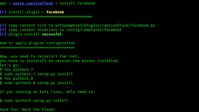 installing facebook plugin on wifipumpkin3