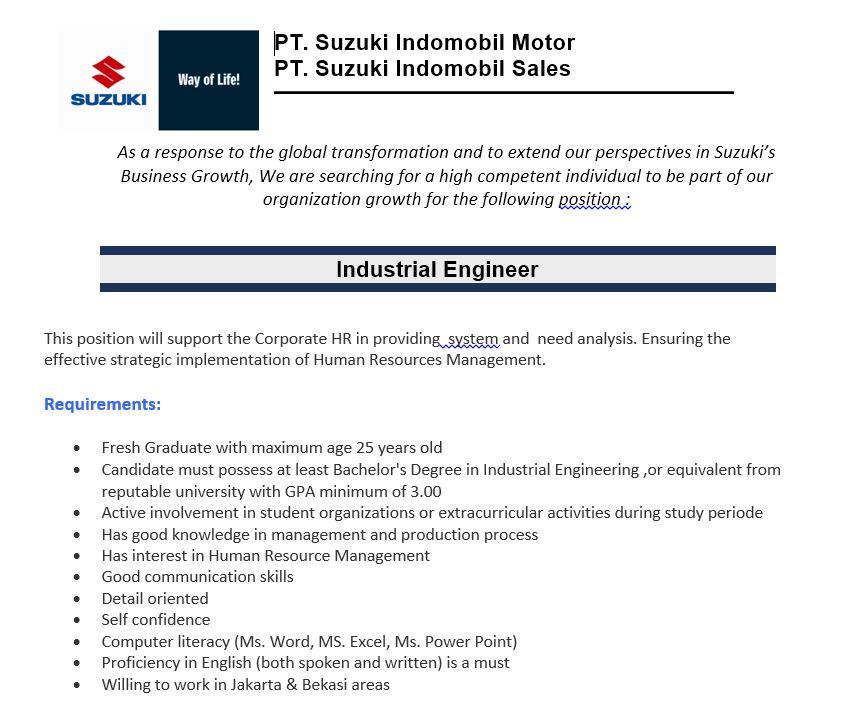 Lowongan Kerja Terbaru PT Suzuki Indomobil Motor 2018 sz11