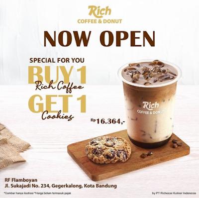 Promo Buy 1 Rich Coffee Get 1 Cookies - Opening RF Coffe & Donut Flamboyan Bandung