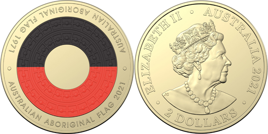 Australia 2 dollars 2021 - Aboriginal flag