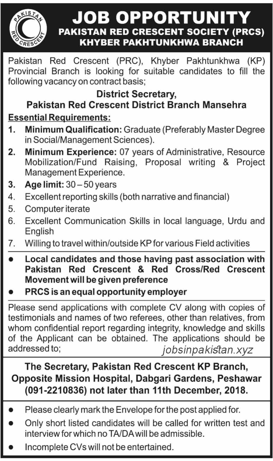 Advertisement for PRCS Jobs December 2018