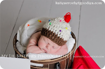newborn ice cream cupcake crochet hat