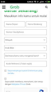Pendaftaran grab bike Makassar