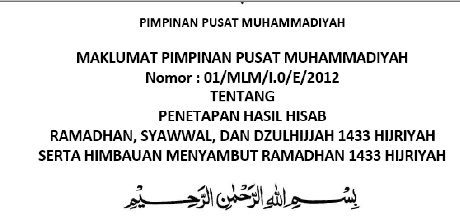 Penetapan Ramadhan Muhammadiyah 1 Ramadhan 1433 H