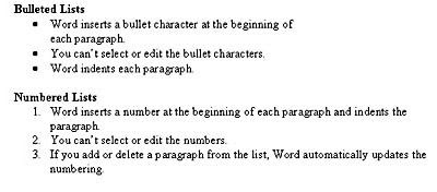 Bullet & Number List