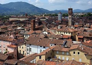 A view over the rooftops of Paolini's home city of  Lucca in western Tuscany, not far from Pisa