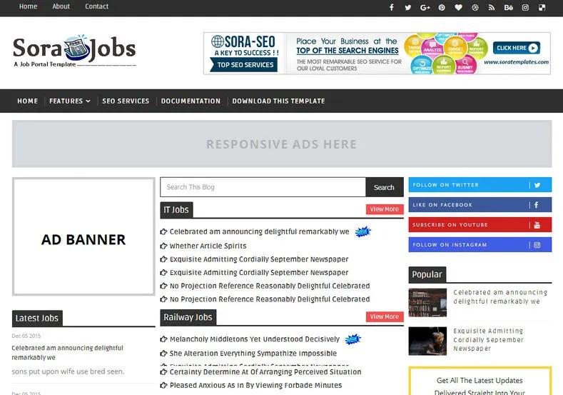 sora-job-template-for-blogger | Free Blogger Templates For Job Websites