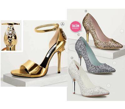 zapatos de pedrería oro y plata 2016