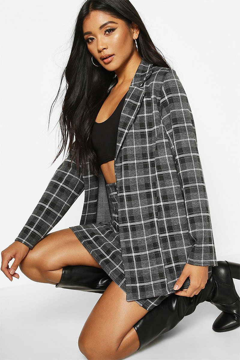 Oversized Grid Check Blazer and Tailored Mini Skirt