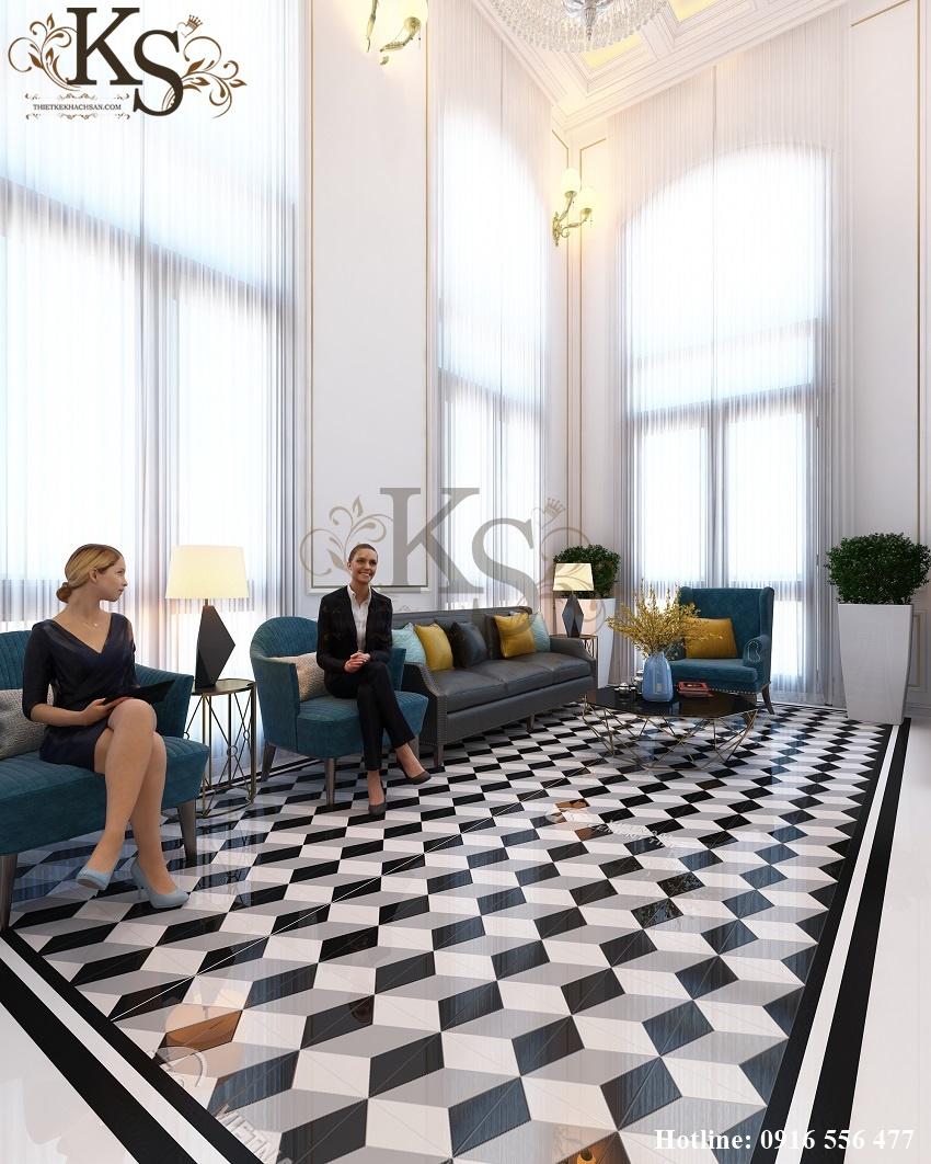 Hình ảnh: Chất liệu kính hiện đại được sử dụng kết hợp với rèm che tạo nên không gian thoáng, sáng cho thiết kế nội thất khách sạn.