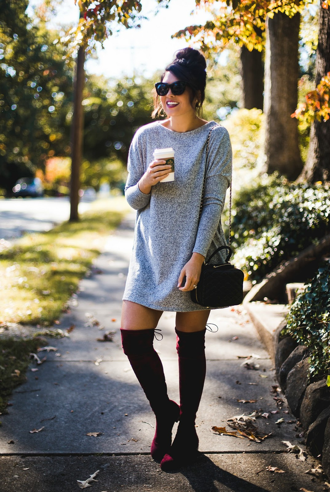 vici collection, sweater dress, life and messy hair, xo samantha brooke, samantha brooke, nc fashion blogger, nc photographer, fashion post, over the knee boots, stuart weitzman over the knee boot dupes