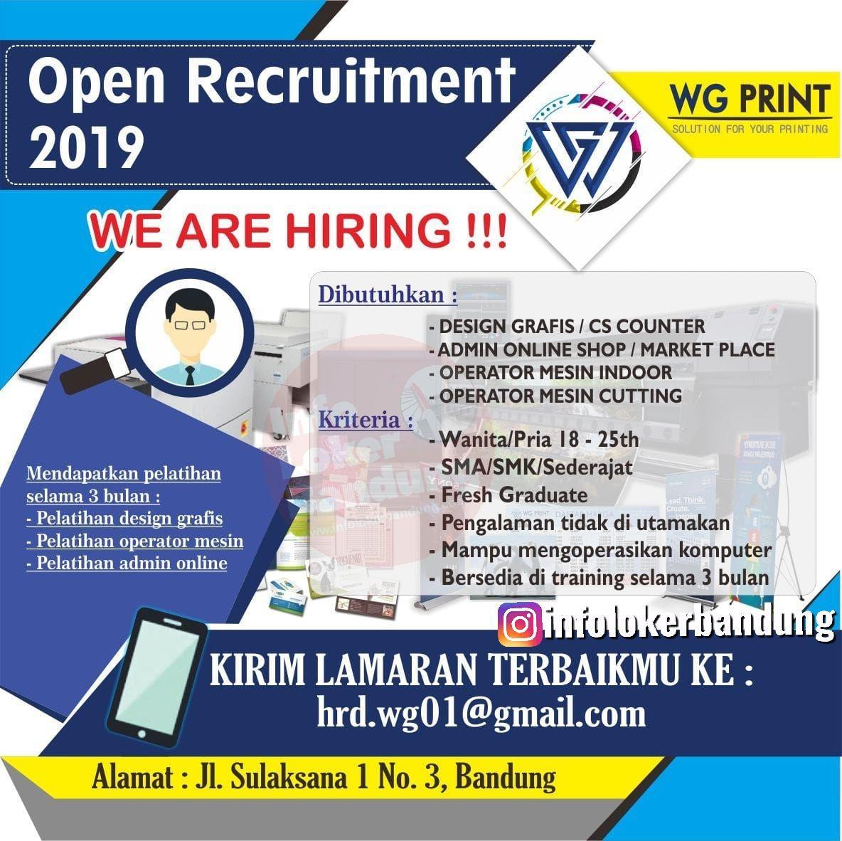 Lowongan Kerja WG Print Bandung Oktober 2019