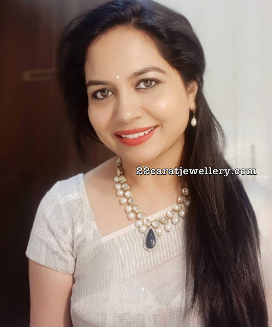 Singer Sunitha in Pearls and Polki Necklace