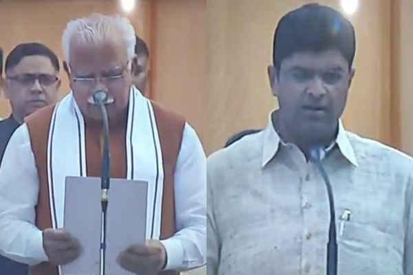 manohar-lal-take-oath-as-cm-dushyant-chautala-dcm-haryana-news