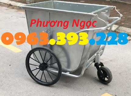 Xe gom rác 500 Lít bằng tôn, xe rác tôn 3 bánh, thùng rác tôn 500L, xe thu rác XRT500L4