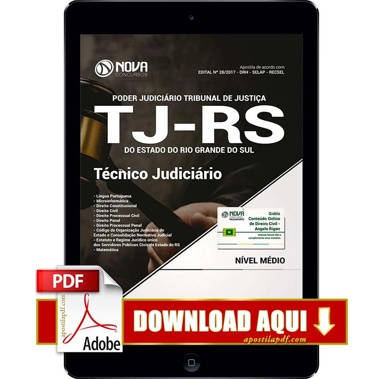 Apostila TJ RS 2017 PDF Download Técnico Judiciário