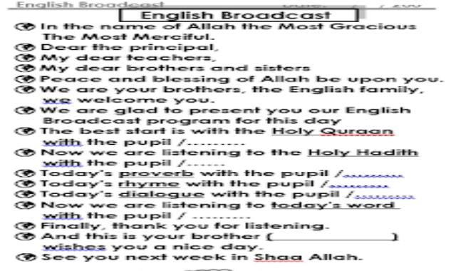 اقوى اذاعة مدرسية باللغة الانجليزية من موقع درس انجليزي