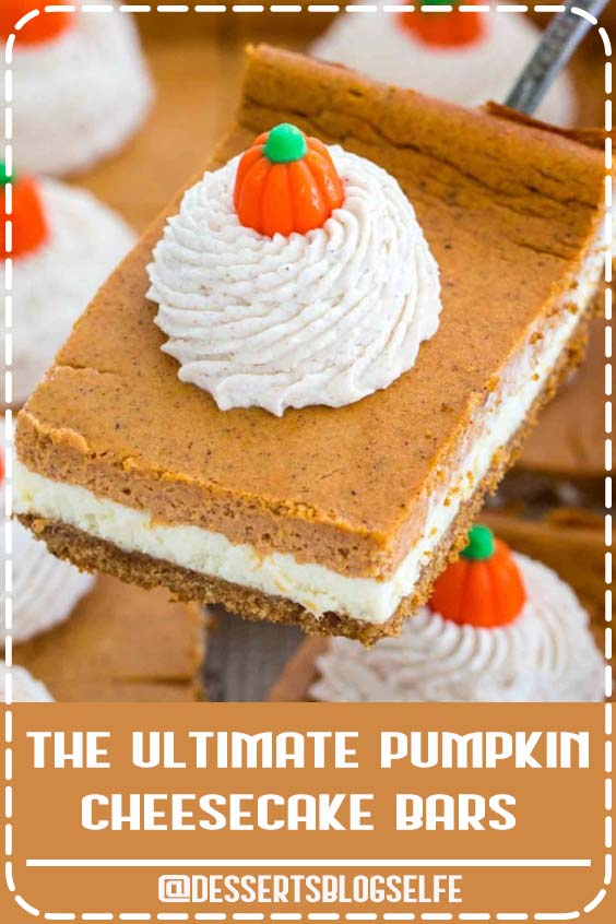 Pumpkin Cheesecake Bars are luxuriously creamy and rich, with lots of pumpkin flavor. Topped with a hefty amount of homemade cinnamon whipped cream. #DessertsBlogSelfe #pumpkin #pumpkinrecipes #thanksgiving #sweetandsavorymeals #recipevideo #DessertsforParties