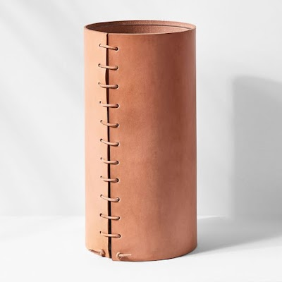 tall leather wrapped vase
