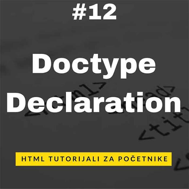 [HTML Tutorijali - Lekcija 12] Doctype Declaration
