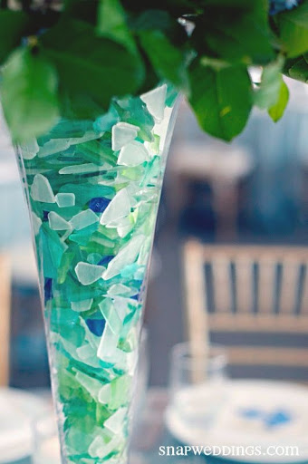 Sea Glass Filled Vase