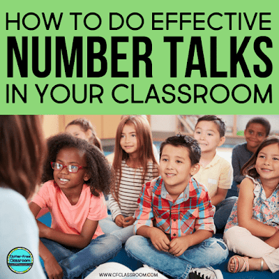 Are you looking to implement or improve number talks in your classroom? This blog post is packed with examples and ideas to help first, second, third, fourth, and fifth grade teachers use number talks and encourage math talk in their classrooms. #numbertalks #mathtalk #mathinstruction #elementarymath