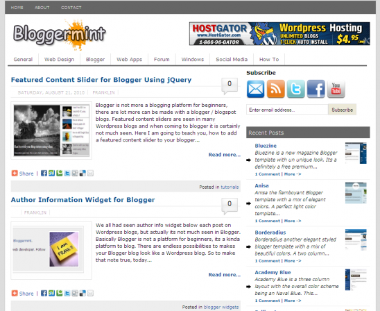 Bloggermint Blogger Template