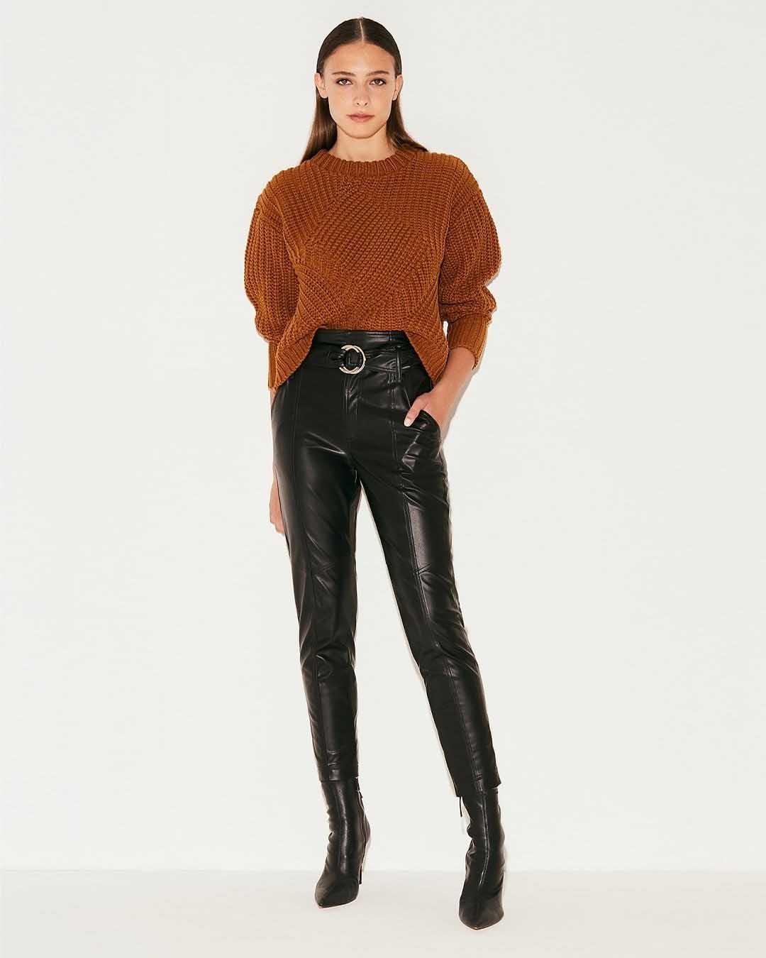pantalones de cuero invierno 2021 moda mujer