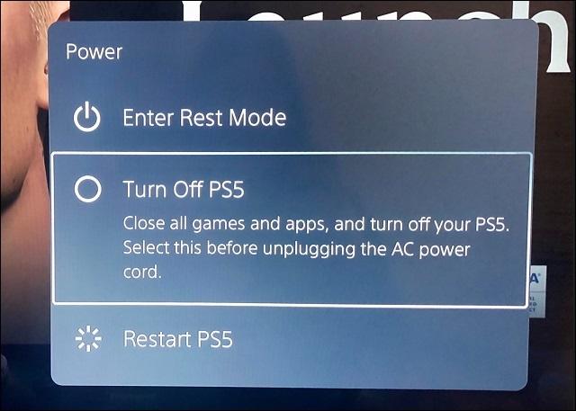 قم بإيقاف تشغيل ps5 في قائمة خيارات الطاقة