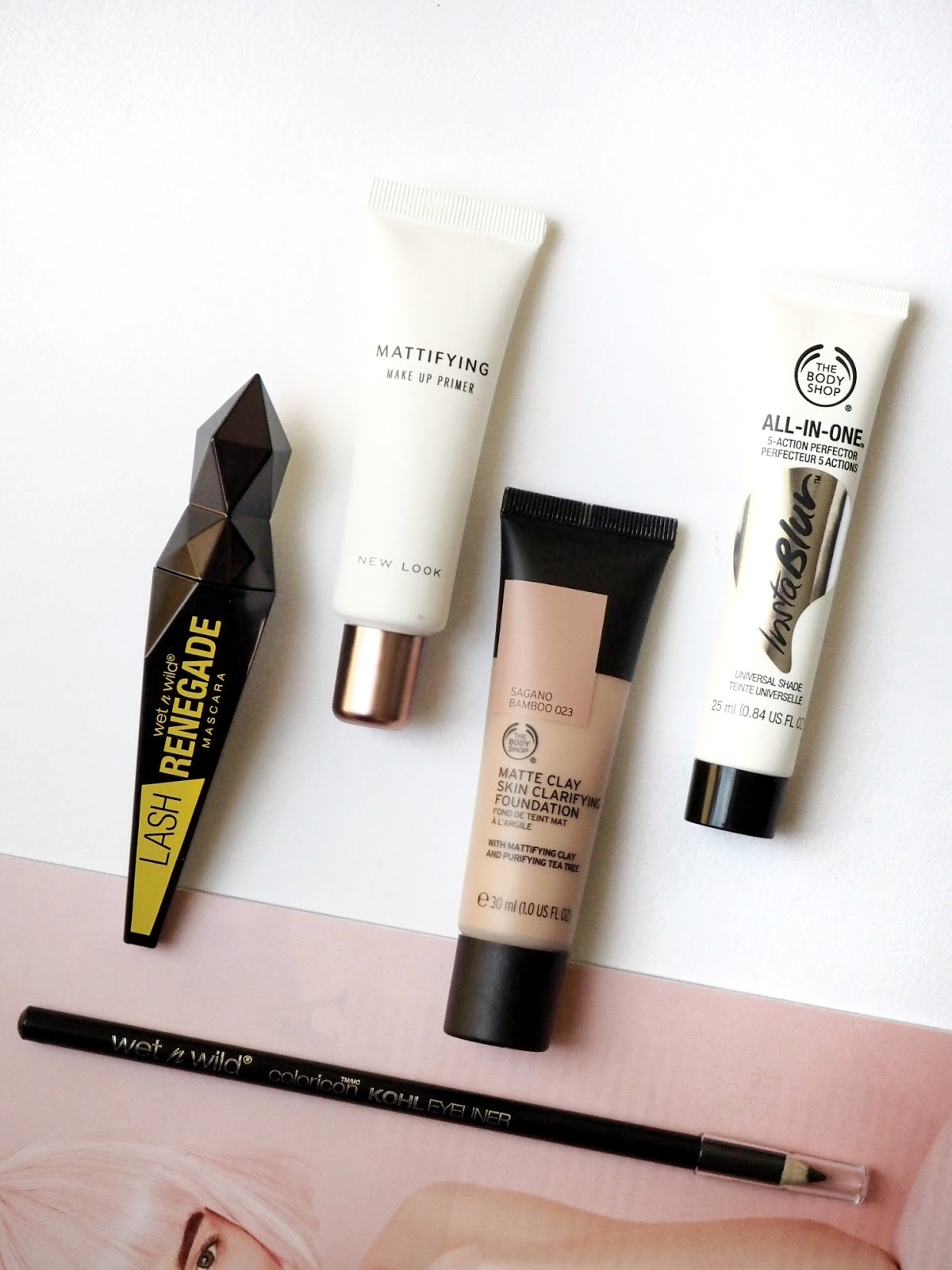 The Body Shop InstaBlur, The Body Shop Matte Clay foundation, Wet & Wild mascara, Wet & Wild kohl liner, New Look primer