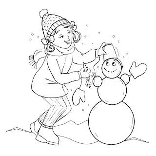 ילדה בונה איש שלג ציור