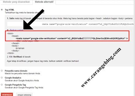 Contoh Memasang Kode Verifikasi Google Webmaster di Bawah kode head